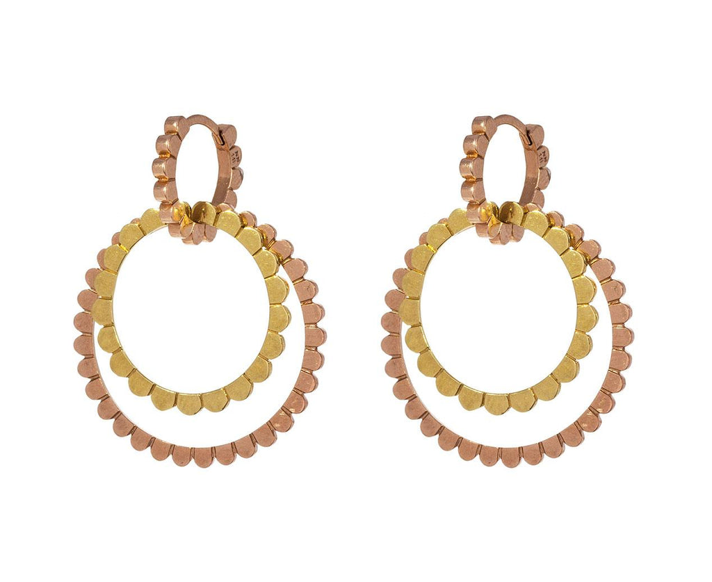 Yellow and Rose Gold Double Loop Huggie Hoops zoom 1_nancy_newberg_gold_circle_daisy_earrings