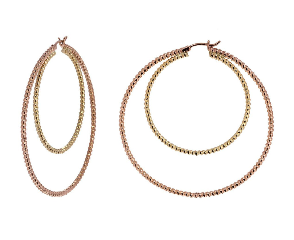 Yellow and Rose Gold Double Hoop  zoom 1_nancy_newberg_mixed_gold_twist_double_hoop_earri