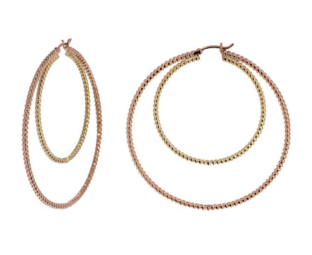Yellow and Rose Gold Double Hoop - TWISTonline