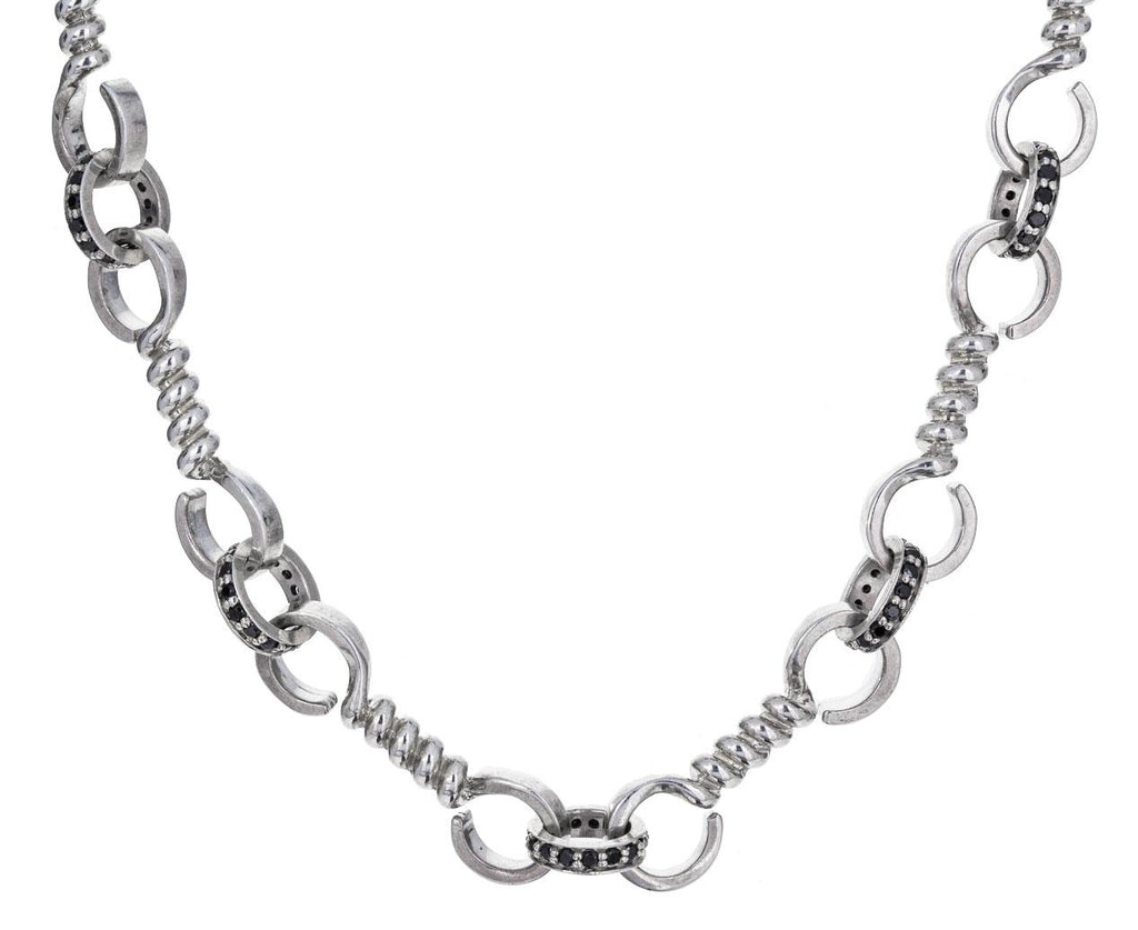Twist Bar Necklace with Black Diamonds zoom 1_nancy_newberg_silver_twist_bar_link_necklace