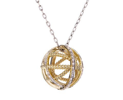 Gold and Diamond Geometric Sphere Pendant Necklace - TWISTonline
