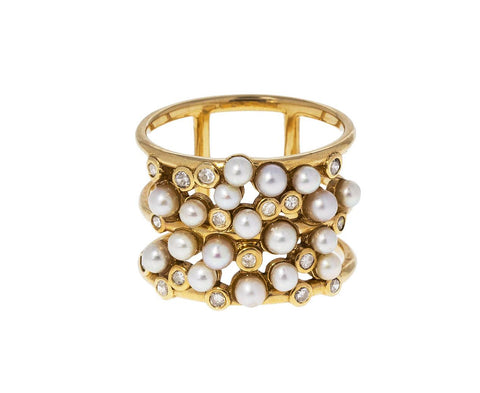 Pearl and Diamond Cluster Ring zoom 1_nancy_newberg_gold_pearl_diamond_cluster_ring