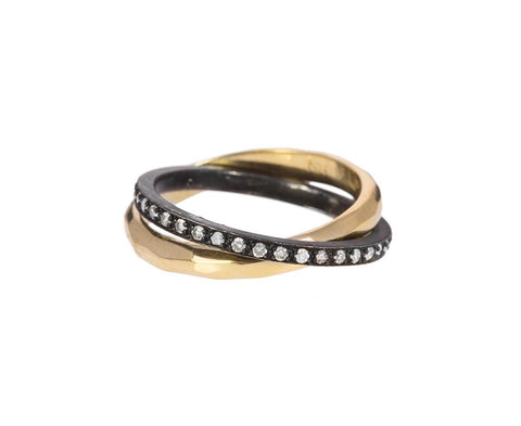 Gold, Silver and Diamond Rolling Ring - TWISTonline