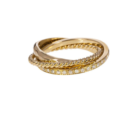 Gold Diamond Triple Rolling Ring - TWISTonline