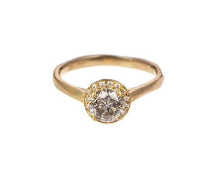 Champagne and Gray Diamond Halo Solitaire - TWISTonline