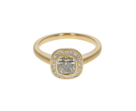 Gray Cushion Cut Diamond Ring
