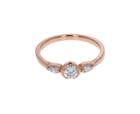 Half Bezel Three Diamond Ring