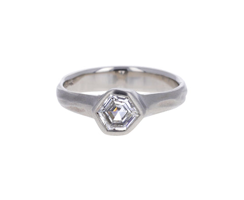 White Geo Cut Diamond Solitaire Ring