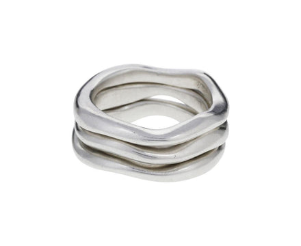 Stack of Three Sterling Silver Wavy Rings - TWISTonline