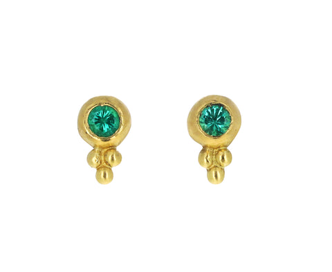 Emerald Baby Bulla Stud Earrings
