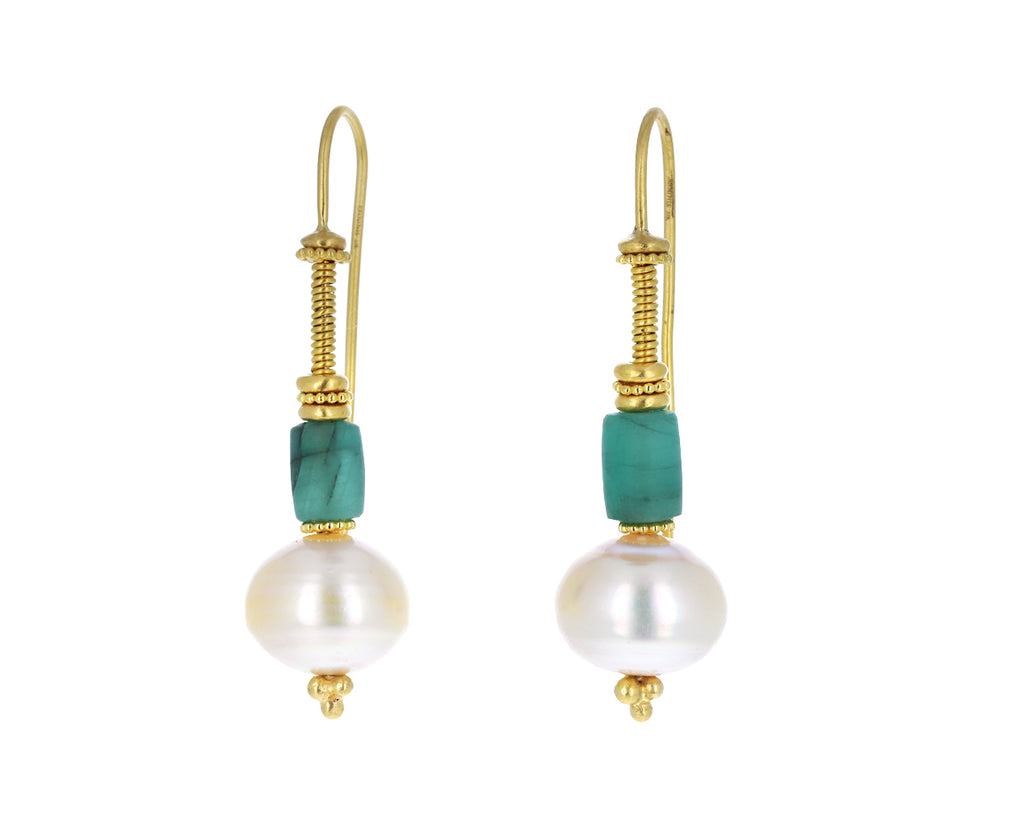 Emerald and Pearl Linea Earrings