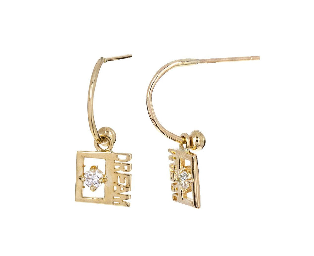 Diamond 'Dream' Drop Hoop Earrings - TWISTonline