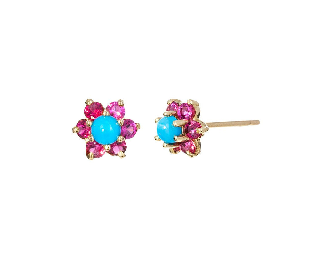 Turquoise and Spinel Flower Earrings - TWISTonline