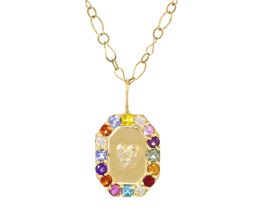 Rainbow Gem Diamond Heart Flip Necklace - TWISTonline