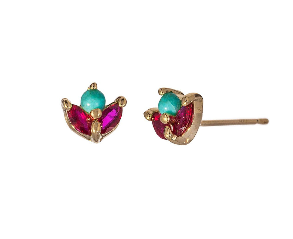 Turquoise and Ruby Bloom Earrings - TWISTonline
