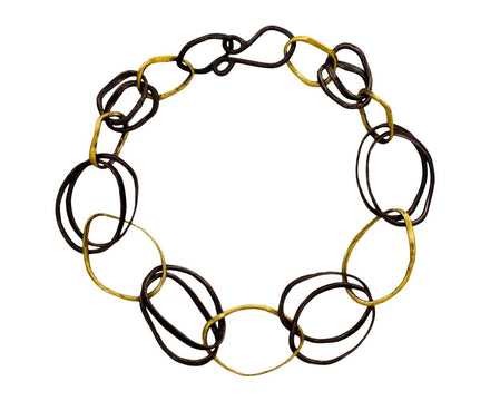 Gold and Oxidized Sterling Silver Pebble Bracelet - TWISTonline
