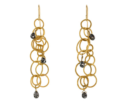 Modern Chainmail Earrings with Black Diamonds - TWISTonline