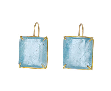 Aquamarine Cube Earrings