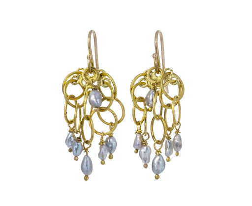 Gold Link and Keshi Pearl Cluster Earrings - TWISTonline