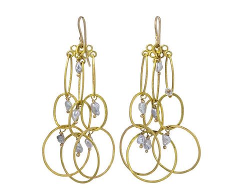Gold and Keshi Pearl Modern Link Earrings - TWISTonline