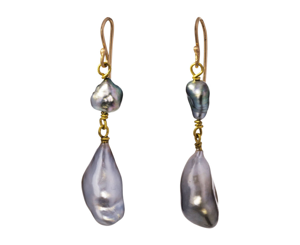 Double Keshi Pearl Drop Earrings