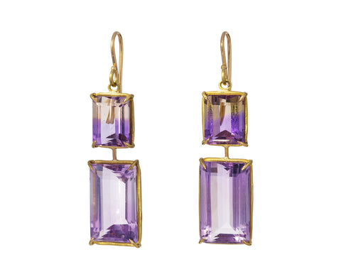 Ametrine and Amethyst Earrings