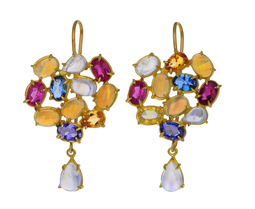 Rainbow Gem Florette Cluster Earrings