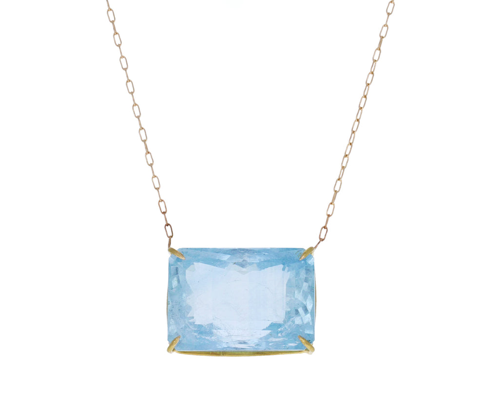 Emerald Cut Aquamarine Pendant Necklace