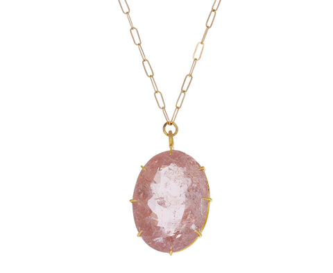 Oval Morganite Pendant Necklace