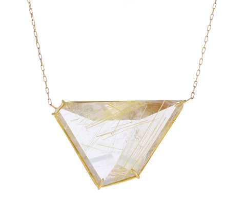 Asymmetrical Rutilated Quartz Pendant Necklace