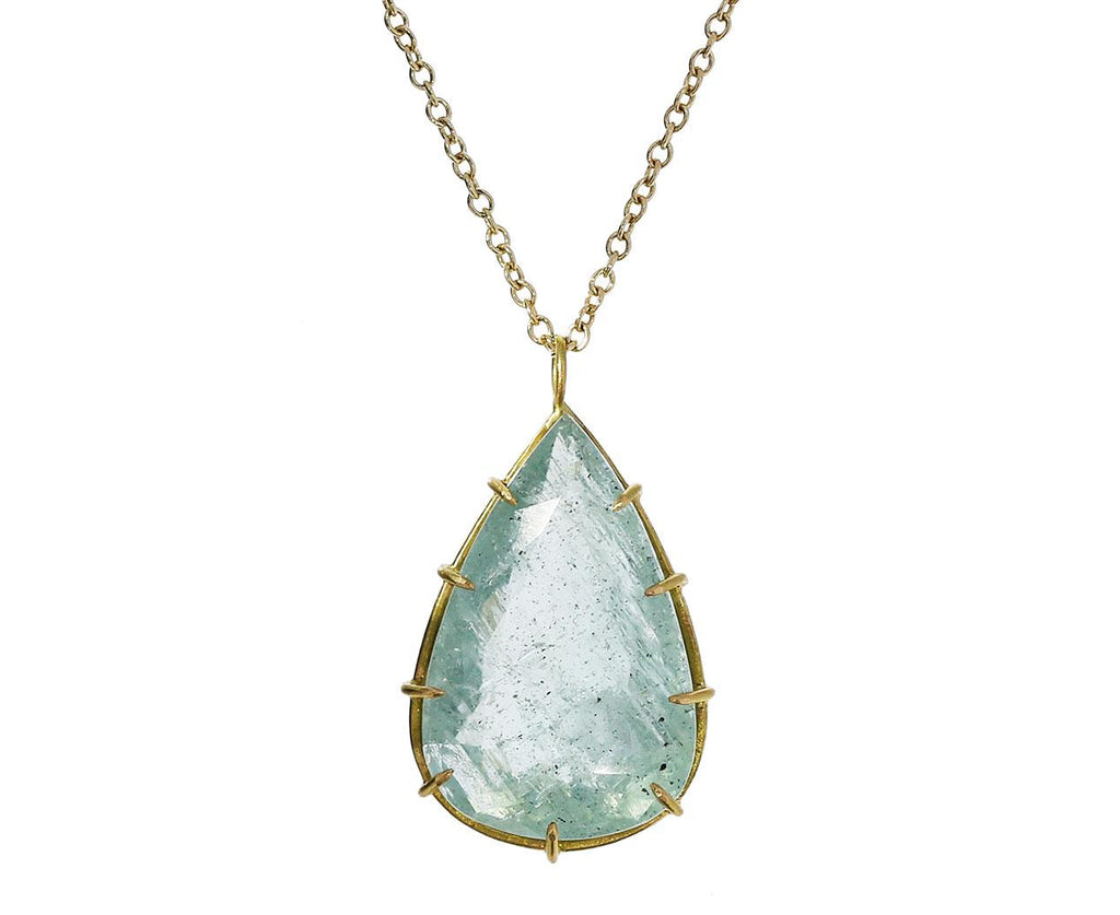 Moss Aquamarine Teardrop Pendant Necklace - TWISTonline
