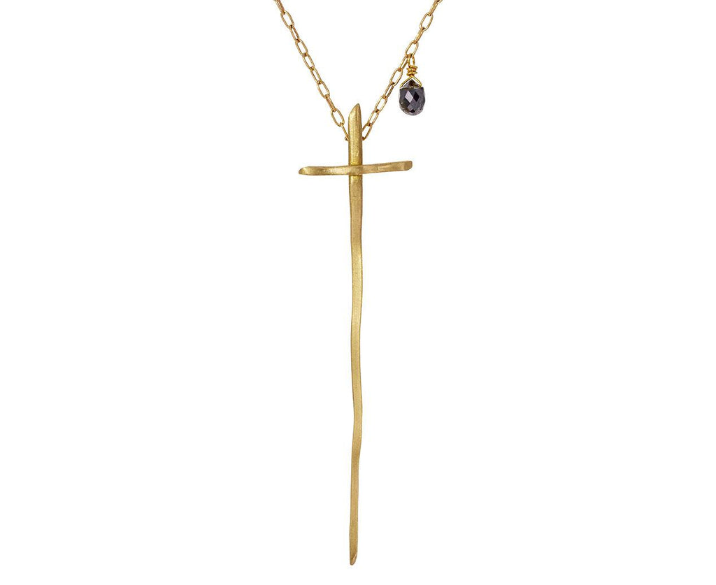 Twig Cross and Black Diamond Necklace - TWISTonline