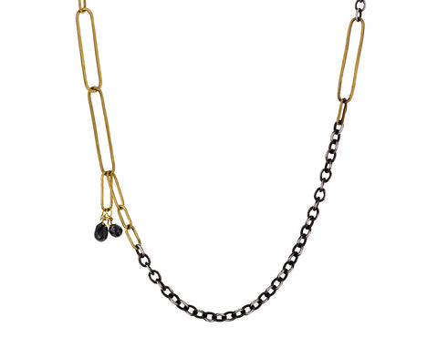 Mixed Chain Necklace with Black Diamonds
