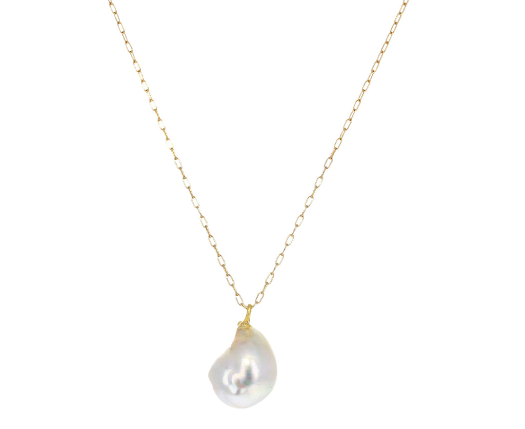 Silver Keshi Pearl Teardrop Necklace