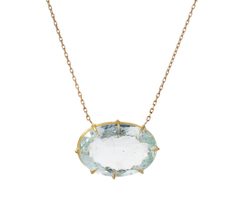 Oval Aquamarine Pendant Necklace