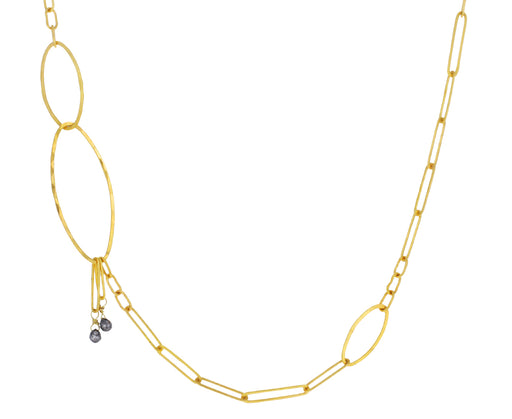 Black Diamond Oval Link Chain Necklace