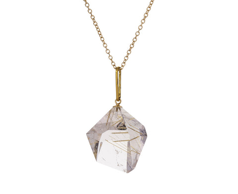 Geometric Rutilated Quartz Pendant Necklace