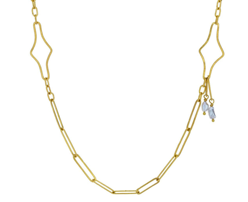 Mini Modern Link Chain Necklace with Keshi Pearls - TWISTonline