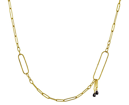 Modern Link Chain Necklace with Black Diamonds - TWISTonline