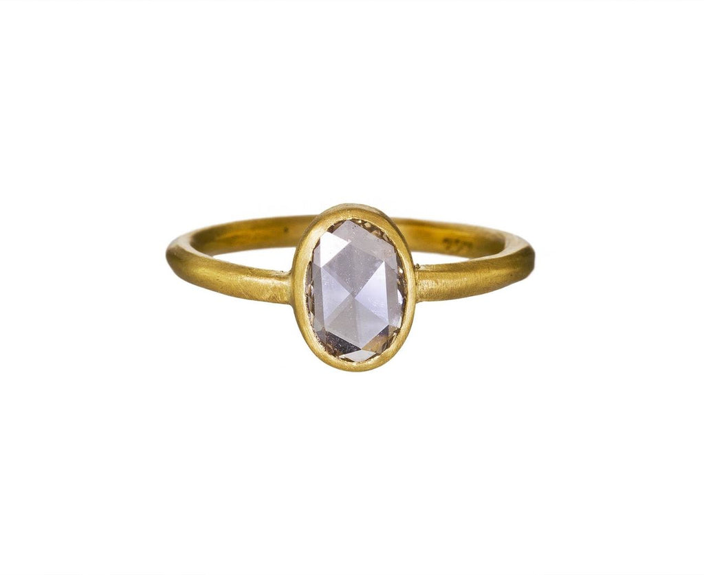 Champagne Rose Cut Oval Diamond Solitaire zoom 1