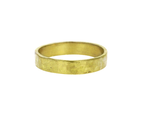 3mm Matte Hammered Gold Square Edge Band