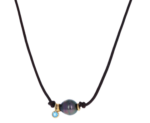 Tahitian Pearl and Blue Topaz Necklace