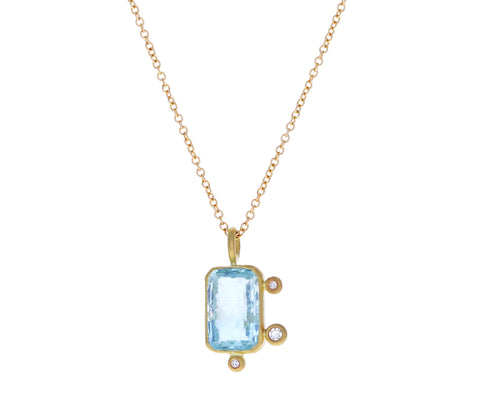 Diamond and Aquamarine Pendant Necklace