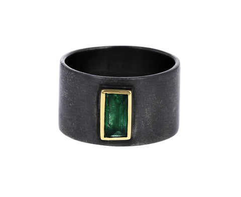 Silver and Emerald Wide Band