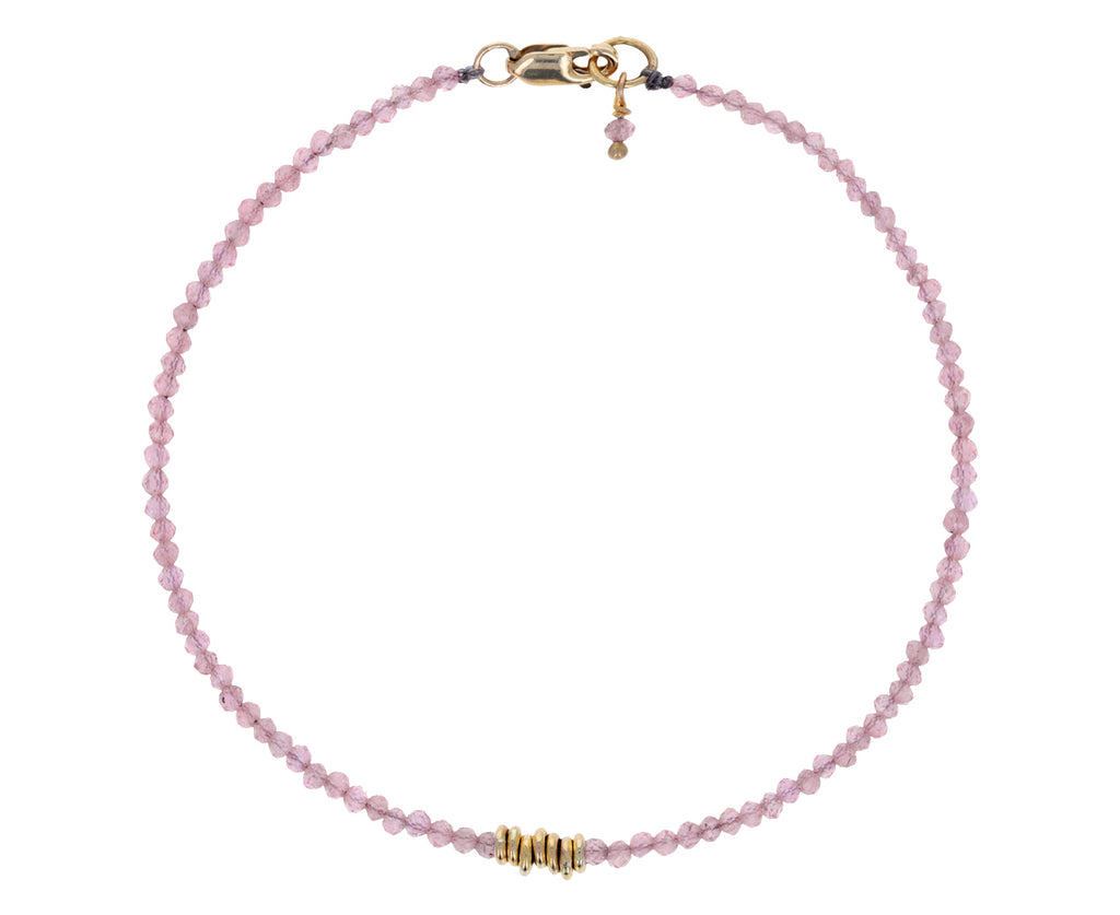 Pink Sapphire and Gold Beaded Bracelet