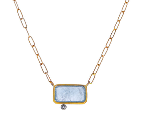 Aquamarine and Diamond Pendant Necklace