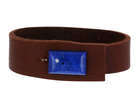 Lapis and Diamond Leather Bracelet