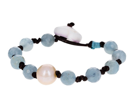 Aquamarine and Pearl Leather Bracelet - TWISTonline