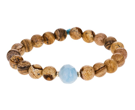 Jasper and Aquamarine Beaded Bracelet - TWISTonline