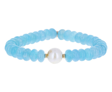 Blue Agate and Pearl Beaded Bracelet